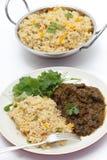 Γεύμα αρνιών Methi με το ρύζι ντοματών Στοκ Φωτογραφία