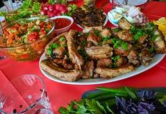 Γεύμα διακοπών Όμορφο shish kebab Στοκ εικόνα με δικαίωμα ελεύθερης χρήσης