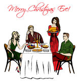 Γεύμα ημέρας των ευχαριστιών ή Χριστουγέννων Στοκ φωτογραφία με δικαίωμα ελεύθερης χρήσης