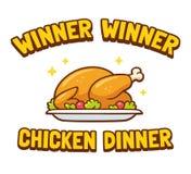 Γεύμα κοτόπουλου νικητών νικητών ελεύθερη απεικόνιση δικαιώματος