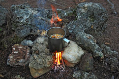 Γεύμα πεζοπορίας Στοκ Φωτογραφία