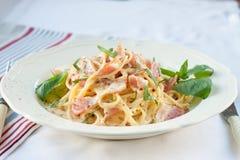 γεύμα carbonara ημέρας εικόνα ζυμαρικών που λαμβάνεται ελαφριά Στοκ Εικόνες