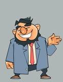 Γελώντας γενειοφόρο άτομο κινούμενων σχεδίων σε ένα κοστούμι με έναν δεσμό Στοκ φωτογραφία με δικαίωμα ελεύθερης χρήσης