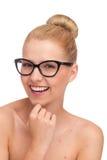 Γελώντας κορίτσι στα γυαλιά. Στοκ εικόνες με δικαίωμα ελεύθερης χρήσης