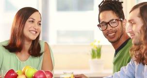 Γελώντας περιστασιακή επιχειρησιακή ομάδα που έχει το μεσημεριανό γεύμα από κοινού φιλμ μικρού μήκους