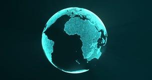 Γη από τα μπλε μόρια και την περιστροφή Περιστρεφόμενη σφαίρα, λάμποντας ήπειροι με τις τονισμένες άκρες Αφηρημένη ζωτικότητα με διανυσματική απεικόνιση