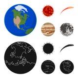 Γη, Δίας, ο ήλιος του πλανήτη του ηλιακού συστήματος Asteroid, μετεωρίτης Τους πλανήτες καθορισμένους τα εικονίδια συλλογής στα κ Στοκ Φωτογραφίες