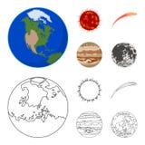 Γη, Δίας, ο ήλιος του πλανήτη του ηλιακού συστήματος Asteroid, μετεωρίτης Τους πλανήτες καθορισμένους τα εικονίδια συλλογής στα κ Στοκ φωτογραφία με δικαίωμα ελεύθερης χρήσης