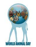 Γη εικονιδίων με τις ζωικές συστάσεις ελεύθερη απεικόνιση δικαιώματος