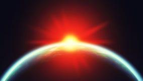 Γη και ήλιος στο διάστημα ελεύθερη απεικόνιση δικαιώματος