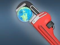 Γη και κόκκινο γαλλικό κλειδί Στοκ εικόνα με δικαίωμα ελεύθερης χρήσης