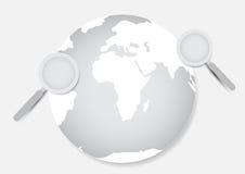 Γη και πιό magnifier με το άσπρο υπόβαθρο Στοκ φωτογραφίες με δικαίωμα ελεύθερης χρήσης