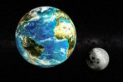 Γη και φεγγάρι στη διαστημική έννοια, τρισδιάστατη απόδοση απεικόνιση αποθεμάτων