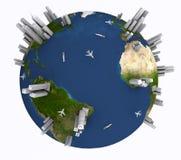Γη με τα σκάφη, τα αεροπλάνα και τους ουρανοξύστες Στοκ φωτογραφία με δικαίωμα ελεύθερης χρήσης