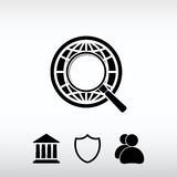 Γη με την ενίσχυση - εικονίδιο αναζήτησης γυαλιού, διανυσματική απεικόνιση ΛΦ Στοκ φωτογραφίες με δικαίωμα ελεύθερης χρήσης