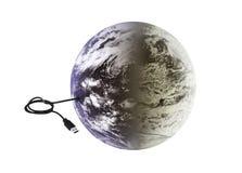 Γη με τη σύνδεση usb Στοκ εικόνα με δικαίωμα ελεύθερης χρήσης