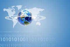 Γη με τον παγκόσμιο χάρτη και αριθμοί για το μπλε Στοκ φωτογραφίες με δικαίωμα ελεύθερης χρήσης