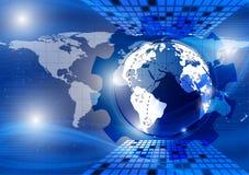 Γη, μπλε αφηρημένο διανυσματικό υπόβαθρο κυμάτων, έννοια τεχνολογίας για τη NASA επιχειρησιακού σύγχρονου σχεδίου σας Στοκ Εικόνες