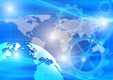 Γη, μπλε αφηρημένο διανυσματικό υπόβαθρο κυμάτων, έννοια τεχνολογίας για τη NASA επιχειρησιακού σχεδίου σας Στοκ εικόνα με δικαίωμα ελεύθερης χρήσης