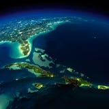 Γη νύχτας. Περιοχή τριγώνων των Βερμούδων απεικόνιση αποθεμάτων