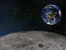 Γη που βλέπει από το φεγγάρι Στοκ φωτογραφία με δικαίωμα ελεύθερης χρήσης