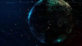 Γη που περιστρέφεται στο παγκόσμιο φουτουριστικό δίκτυο με το cryptocurrency σε όλη την υδρόγειο απεικόνιση αποθεμάτων