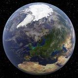 Γη που στρέφεται σε βόρειο πόλο & x28 Europe& x29  Στοκ Εικόνα