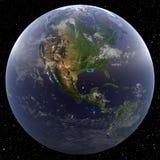 Γη που στρέφεται στην Κεντρική Αμερική που αντιμετωπίζεται από το διάστημα Στοκ Εικόνα