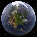 Γη που στρέφεται στη Βόρεια Αμερική που αντιμετωπίζεται από το διάστημα Στοκ εικόνα με δικαίωμα ελεύθερης χρήσης