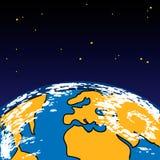 Γη στο διάστημα με τα αστέρια Διανυσματικό illustranion Στοκ φωτογραφία με δικαίωμα ελεύθερης χρήσης