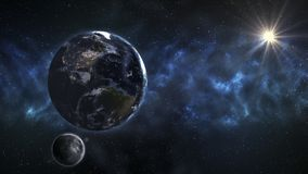 Γη στο μακρινό διάστημα με την όμορφη ανατολή Στοιχεία του thi Στοκ Εικόνες