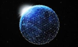 γη τη νύχτα από τις διαστημικές παγκόσμιες επικοινωνίες Στοκ Φωτογραφίες
