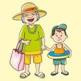 Γιαγιά και εγγονός διανυσματική απεικόνιση