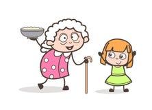 Γιαγιά κινούμενων σχεδίων που παρουσιάζει το πιάτο στη διανυσματική απεικόνιση εγγονών της διανυσματική απεικόνιση
