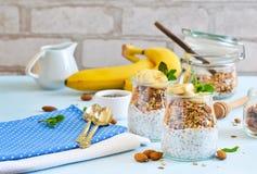 Γιαούρτι με τους σπόρους, το granola και την μπανάνα chia για το πρόγευμα στοκ εικόνες