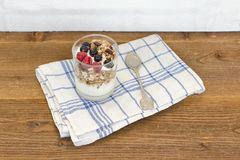 Γιαούρτι με το granola και τα φρούτα πρόγευμα υγιές Στοκ εικόνες με δικαίωμα ελεύθερης χρήσης