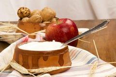 Γιαούρτι, ξύλα καρυδιάς, Apple Στοκ Φωτογραφία