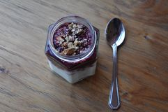 Γιαούρτι: Υγιές γιαούρτι προγευμάτων με το granola και τα μούρα Στοκ Εικόνα