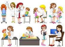 Γιατροί και ασθενής στην κλινική ελεύθερη απεικόνιση δικαιώματος