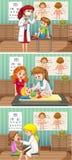 Γιατροί και ασθενής στην κλινική διανυσματική απεικόνιση