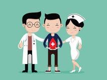 Γιατροί, νοσοκόμες και άτομο ευτυχείς στη δωρεά αίματος απεικόνιση αποθεμάτων