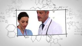 Γιατροί που εργάζονται στα εργαστήρια πέρα από τα χημικά σχέδια απόθεμα βίντεο