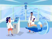 Γιατροί που κάνουν την επίπεδη απεικόνιση δοκιμής τομογραφίας απεικόνιση αποθεμάτων