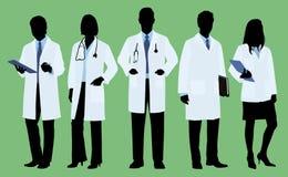 Γιατροί στη σκιαγραφία Στοκ Φωτογραφίες
