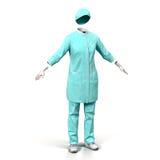 Γιατρός ή νοσοκόμα θηλυκών ομοιόμορφος που απομονώνει στην άσπρη τρισδιάστατη απεικόνιση διανυσματική απεικόνιση