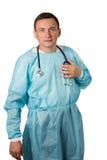 γιατρός ανασκόπησης που απομονώνεται ιατρικός πέρα από το λευκό στηθοσκοπίων Άσπρη απομονωμένη ανασκόπηση Στοκ Εικόνες