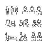 Γιατρός, ασθενής, λεπτά εικονίδια γραμμών νοσοκόμων καθορισμένα διανυσματική απεικόνιση