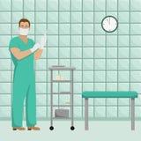 Γιατρός ατόμων με λειτουργώντας μορφή στα αποστειρωμένα γάντια διανυσματική απεικόνιση