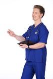 Γιατρός ατόμων στο μπλε στοκ φωτογραφία