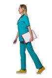 Γιατρός γυναικών που απομονώνεται στο λευκό Στοκ Φωτογραφία